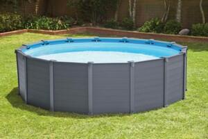 Intex Frame Pool Komplett Set Graphit mit Sandfilteranlage ,  Ø 478 x 124 cm