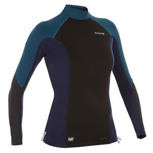 UV-Shirt langarm Surfen Top Neopren Fleece Damen schwarz/blau