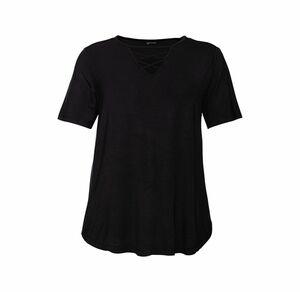 Laura Torelli plus (Gr. 44-58) Damen-T-Shirt mit Zierschnürung, große Größen