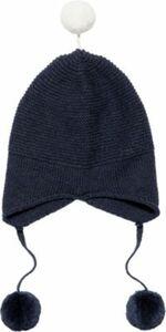 Baby Strick-Bommelmütze MARCEL, Organic Cotton dunkelblau Gr. 44-47