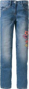 Jeans mit Blumenprint Slim Fit blue denim Gr. 170 Mädchen Kinder