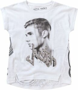 JUSTIN BIEBER T-Shirt mit Wendepailletten weiß Gr. 110/116 Mädchen Kinder