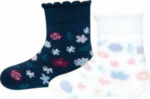 Baby Thermo Socken Doppelpack , Blumen blau/weiß Gr. 16/17 Mädchen Baby
