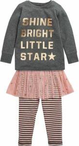 Schlafanzug mit Tüllrock rosa/grau Gr. 92/98 Mädchen Kleinkinder