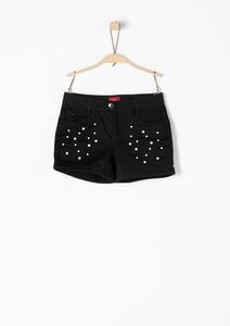 Twill-Shorts mit Fake-Perlen