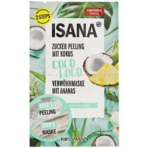 ISANA Zucker Peeling mit Kokos + Verwöhnmaske mit Anan 3.44 EUR/100 ml