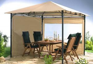 Grasekamp 2 Seitenteile mit Fenster zu Stil Pavillon 3x3m Sand