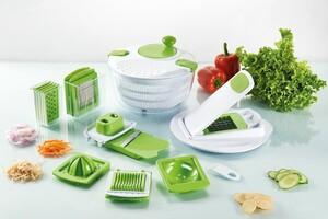 Casa Royale Gemüseschneider und Salatschleuder, 19 tlg., Weiß-Lime