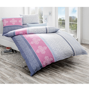 Dreamtex Mako Jersey Bettwäsche mit Aloe Vera 200 x 200 cm - Diamonds Bleu
