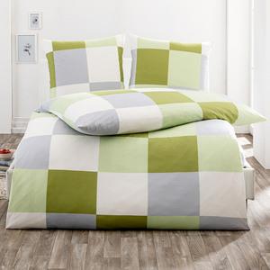 Dreamtex Mako Jersey Bettwäsche mit Aloe Vera 200 x 200 cm - Squares Pistazie