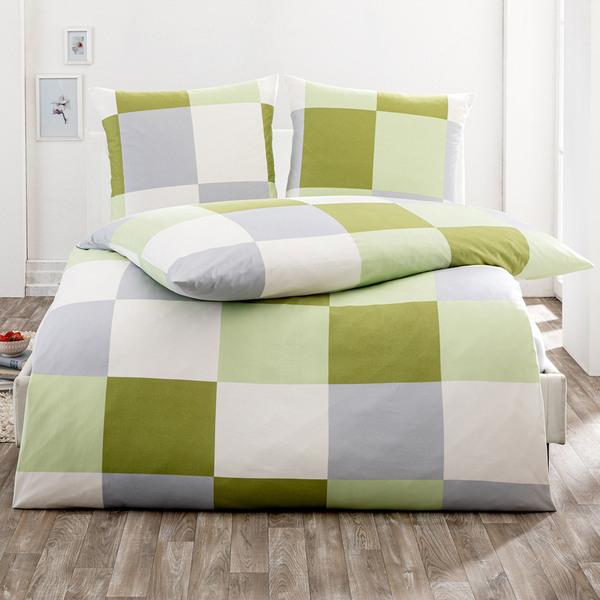 Dreamtex Mako Jersey Bettwäsche mit Aloe Vera 155 x 220 cm - Squares Pistazie