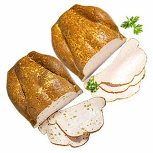 Hähnchenbrust-Pastete mit grünem Spargel oder natur, von Hand geformt und goldbraun gebacken, je 100 g