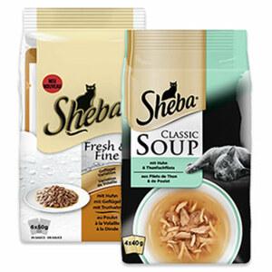 Sheba Fresh&Fine 6x50g Katzen-Nassnahrung oder Soup 4x40g Katzen-Nahrungsergänzung versch. Sorten, jede 6x50-g=300-g/4x40-g=160-g-Packung