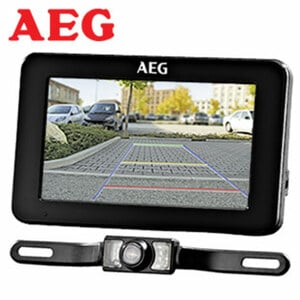 AEG Rückfahrkamera-System RV 4:3 verschlüsselte 2,4 GHz Funkübertragung, 4,3 Zoll Monitor, Blickwinkel von 110°, 12 V Anschluss, inkl. Zubehör