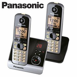 Schnurlos-DECT-Telefon KX-TG6722 Duo · Telefonbuch für bis zu 100 Einträgen · Nachtmodus, Standardakkus · digitaler Anrufbeantworter