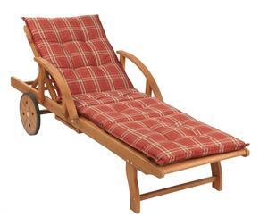 Grasekamp Gartenliege Rio Grande mit Kissen Rubin Holz Liege Sonnenliege Relaxliege
