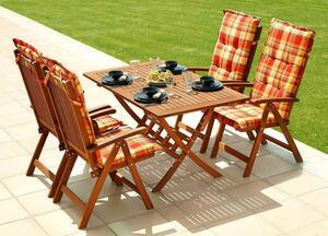 Grasekamp Gartenmöbel 9tlg mit 140cm Klapptisch Balkonmöbel Rio Grande Sunshine