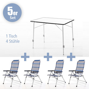 Powertec Garden 5tlg. Campingmöbel-Set, Blau-Grau