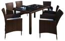 Bild 2 von VCM Polyrattan Set Tisch 140x90 + 6 Stühle / Braun