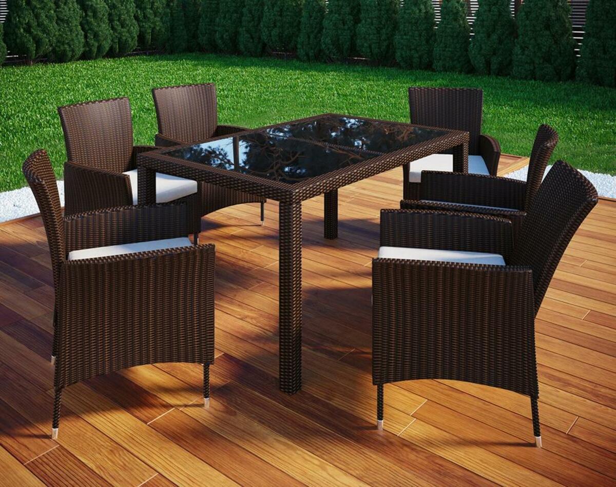 Bild 3 von VCM Polyrattan Set Tisch 140x90 + 6 Stühle / Braun