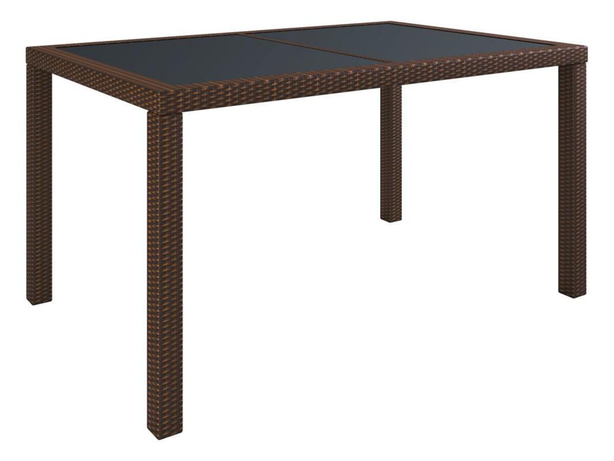 Bild 4 von VCM Polyrattan Set Tisch 140x90 + 6 Stühle / Braun