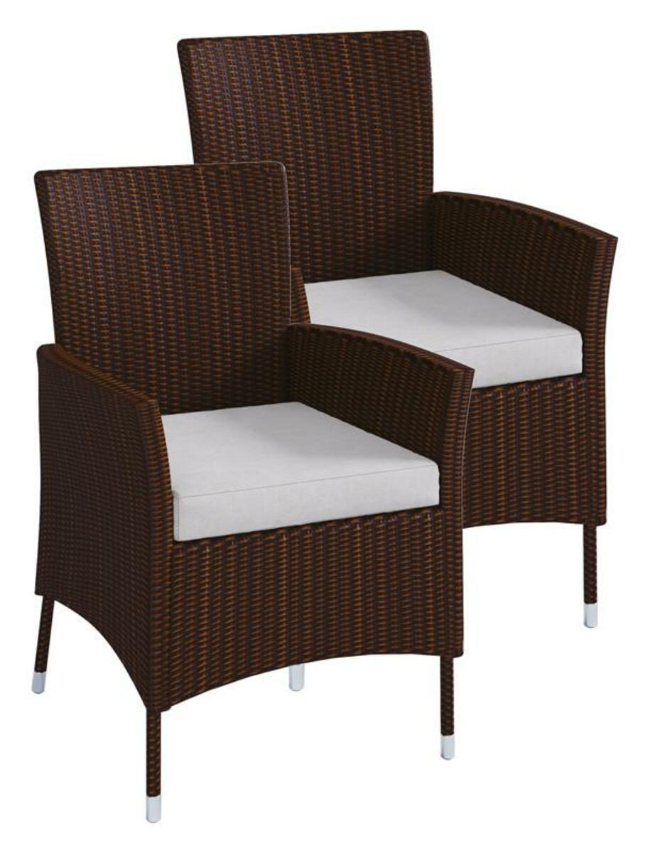 Bild 5 von VCM Polyrattan Set Tisch 140x90 + 6 Stühle / Braun