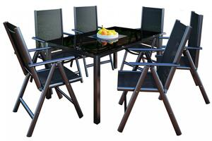 VCM Alu Garten Set Tisch 150x90x73 + 6 Stühle