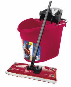 vileda Ultramat 2in1 Box-Set, Bodenwischer und Eimer mit Power-Presse, Farbe Rot