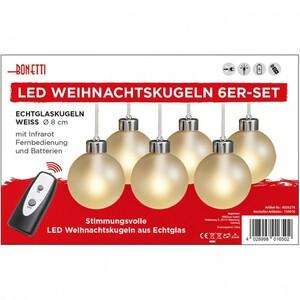 LED Glaskugeln 6 Stück im Set weiß oder rot