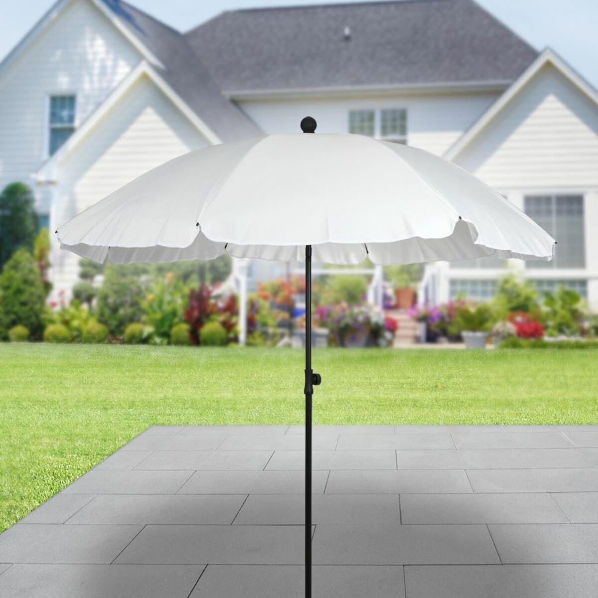 Bild 1 von Sonnenschirm mit Knickgelenk 175x200cm Weiß, beschichtetes Metallgestell, Schirmbespannung aus 100% Polyester, Gewicht: ca. 1,71kg
