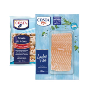 Costa Frutti di Mare, Tintenfischringe in Knusperpanade, Lachs- oder Kabeljaufilet, Muschelfleisch