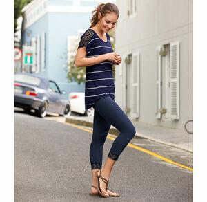 Laura Torelli COLLECTION Damen-Leggings mit stylischem Spitzensaum