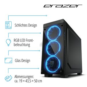 MEDION ERAZER® X67116, Intel® Core™ i7-9700, Windows10Home, RTX 2070, 512 GB SSD, 2 TB HDD, 16 GB RAM, High End Gaming PC