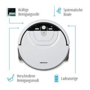 MEDION Wischroboter MD 18379, mit intelligenter Navigation, vollautomatische Nassreinigung, 0,8 l Wasserbehälter, bis zu 80 Min Laufzeit