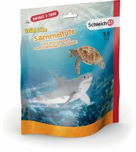 WWF Schleich Sammeltüten - Set 2, 1x weißer Hai, 1x Meeresschildkröte