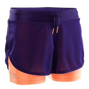 Laufshorts Kiprun Mädchen violett/orange
