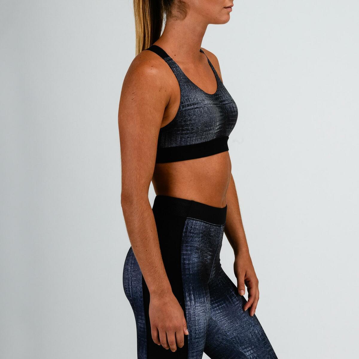 Bild 3 von Sport-Bustier 500 Fitness Cardio Damen grau mit Print