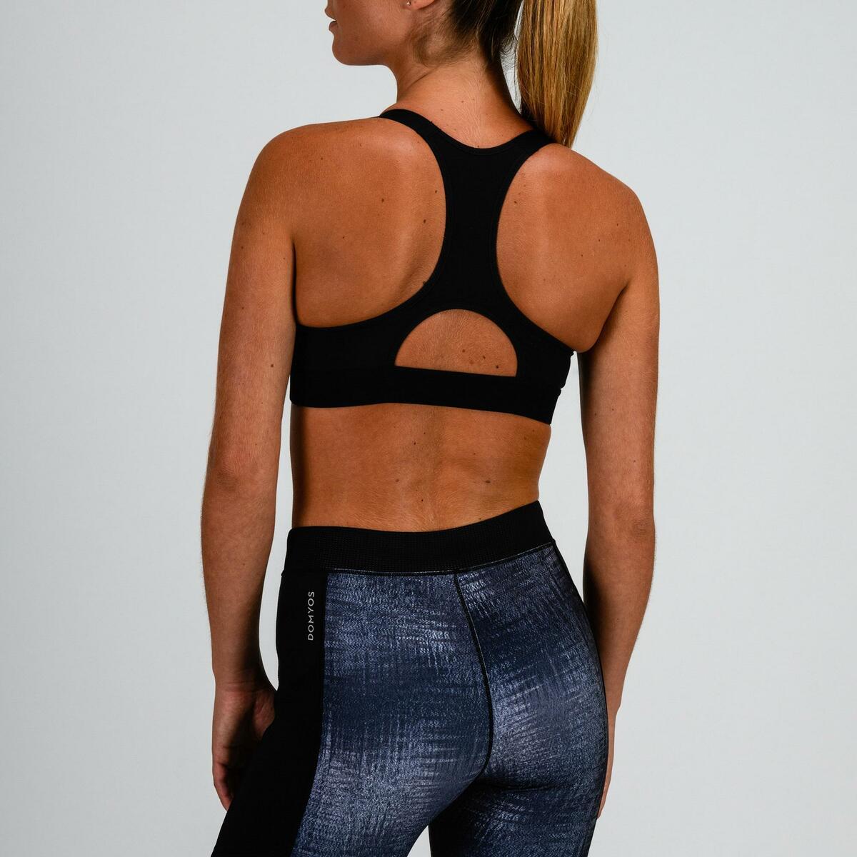 Bild 4 von Sport-Bustier 500 Fitness Cardio Damen grau mit Print