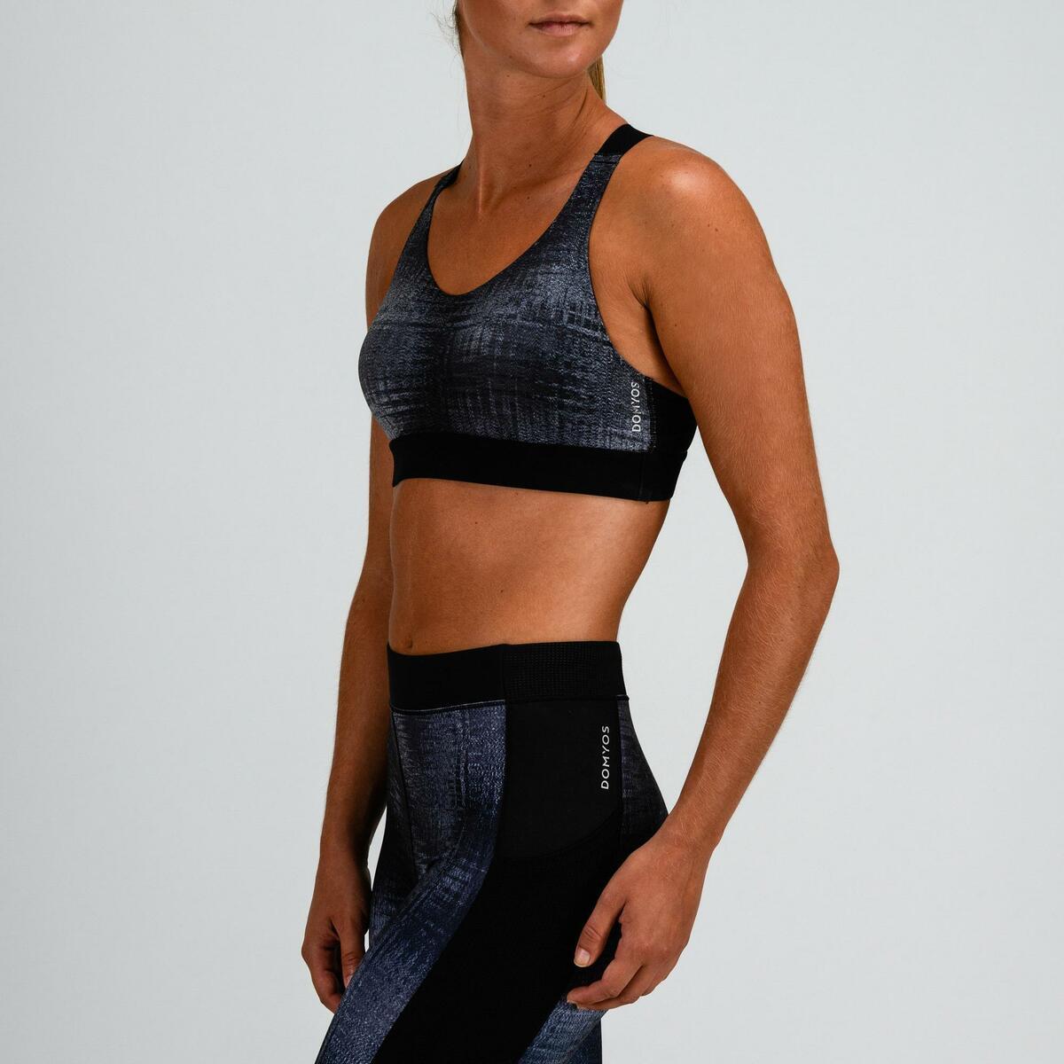Bild 5 von Sport-Bustier 500 Fitness Cardio Damen grau mit Print