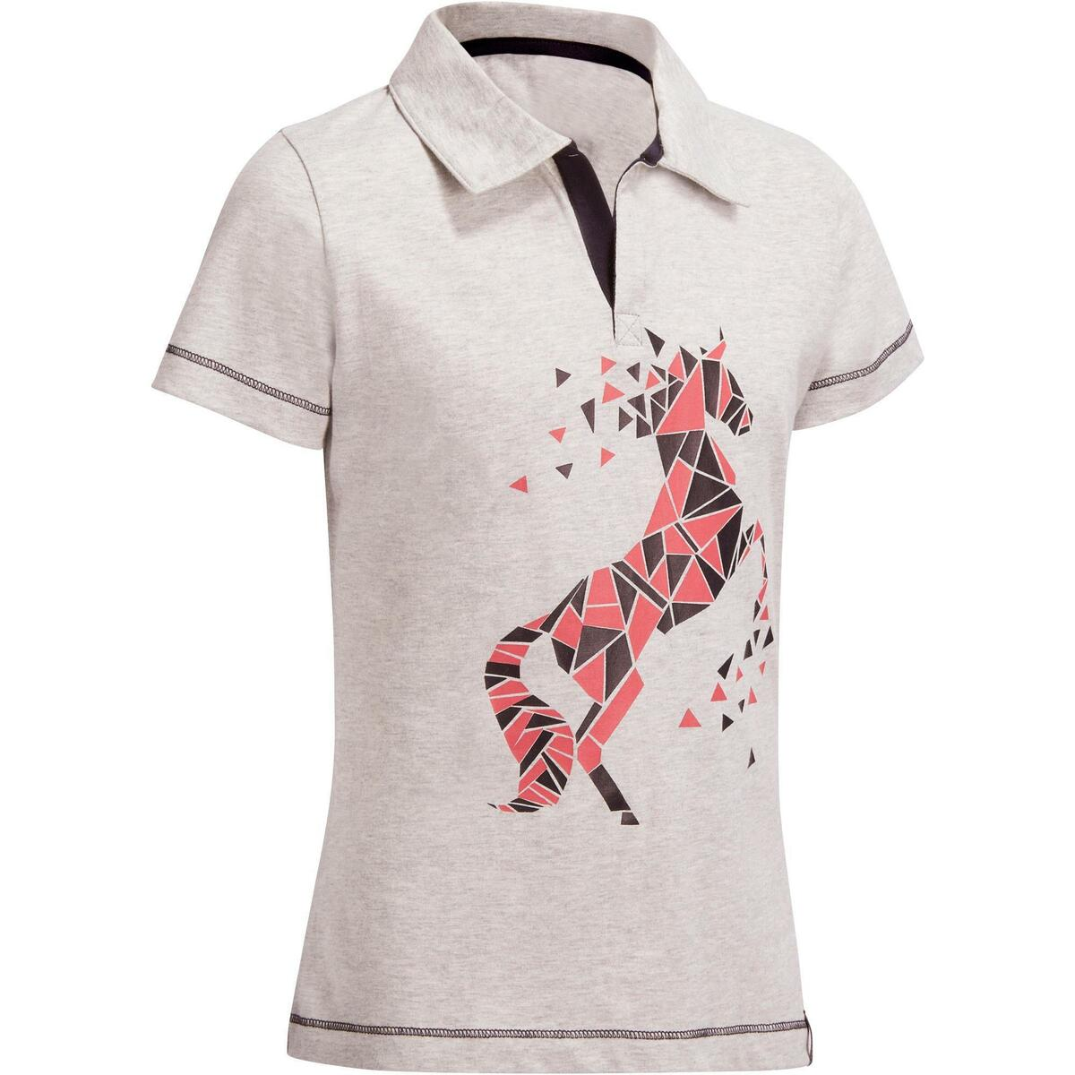 Bild 1 von Reit-Poloshirt Kurzarm Kinder Mädchen graumeliert mit rosafarbenem Motiv