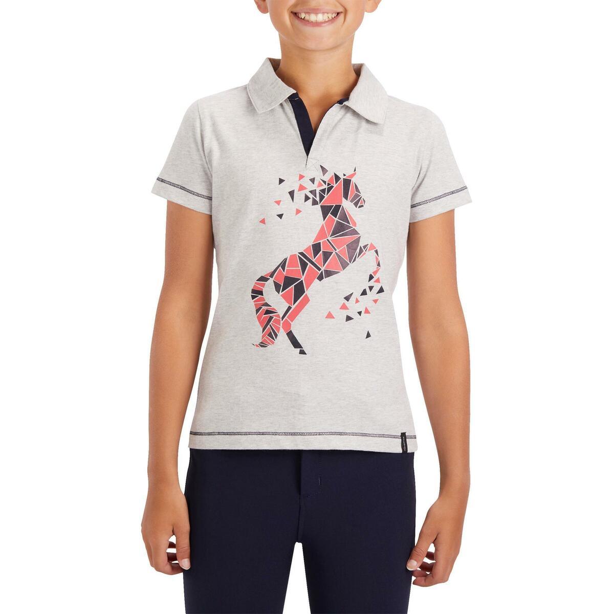 Bild 2 von Reit-Poloshirt Kurzarm Kinder Mädchen graumeliert mit rosafarbenem Motiv