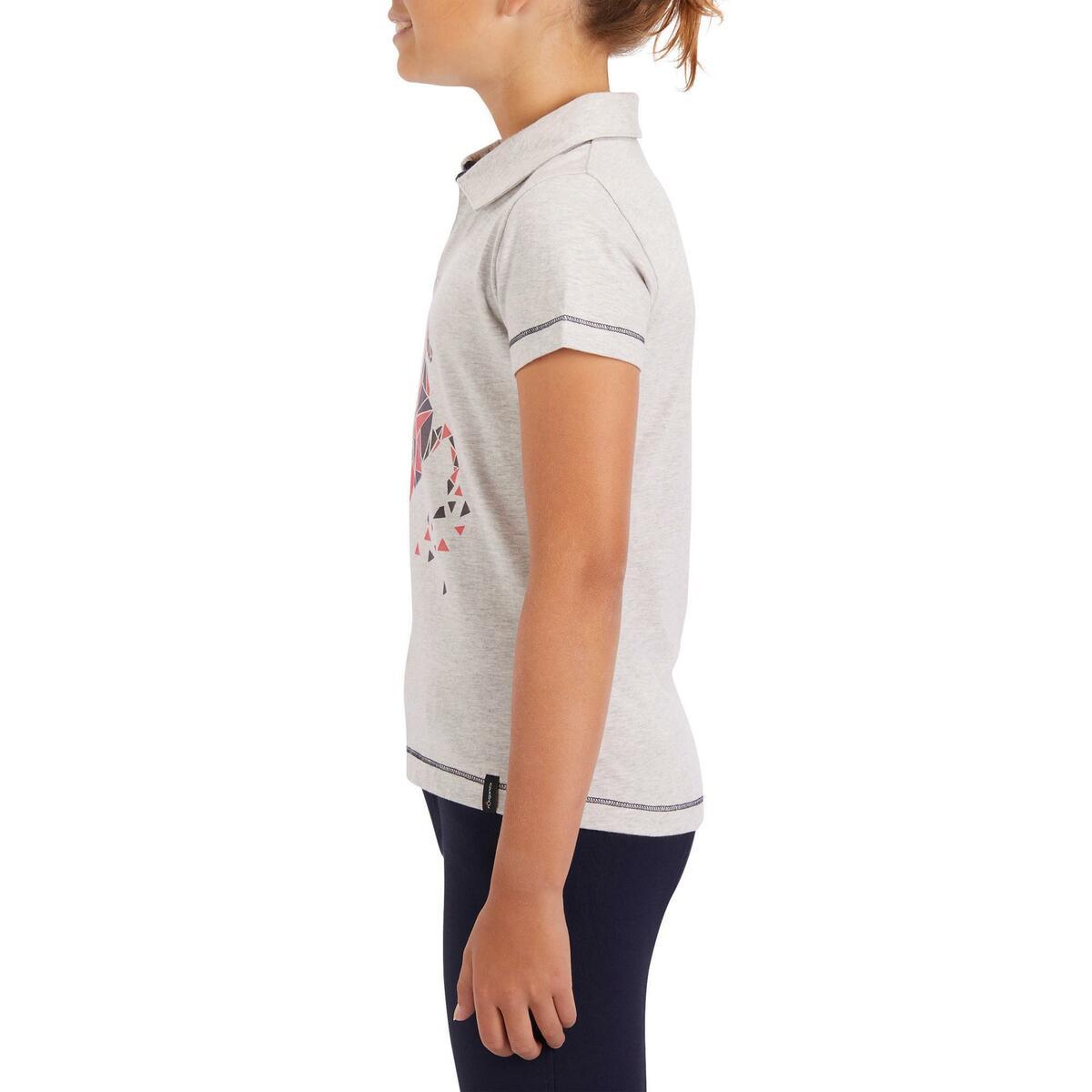 Bild 5 von Reit-Poloshirt Kurzarm Kinder Mädchen graumeliert mit rosafarbenem Motiv