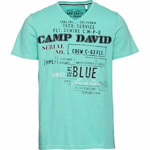 Camp David Herren T-Shirt mit Print und Aufnähern