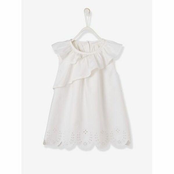 Festkleid für Baby Mädchen, Lochstickerei einfarbig hellweiss