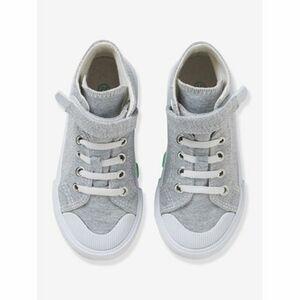 Jungen-Sneakers mit Anziehtrick mittelgrau einfärbig mit app.