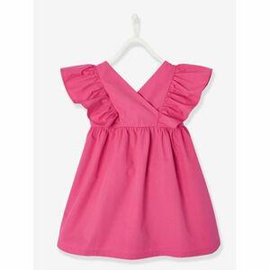 Mädchenkleid mit Volants einfarbig hochrose