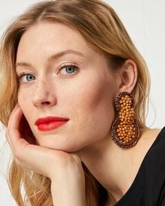 Bast-Ohrringe mit Perlen