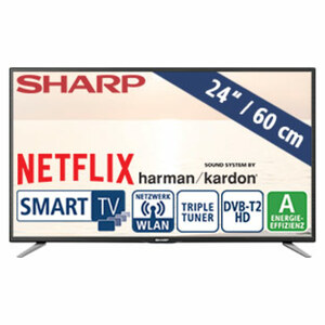 "24""-LED-HD-TV LC-24CHG6132E • Auflösung 1.366 x 768 Pixel • HbbTV • 2 HDMI-/USB-Anschlüsse, CI+ • Stand-by: 0,5 Watt, Betrieb: 25 Watt • Maße: H 32,8 x B 55,2 x T 4,5 cm • Energie-Ef"