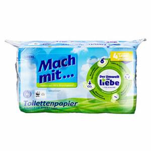 Mach mit... Recycling Toilettenpapier 3-lagig, 8 x 150-Blatt oder 4-lagig, 8 x 130 Blatt, jede Packung