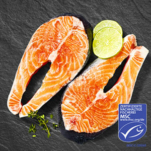 MSC Wildlachssteaks aus MSC-zertifizierter Fischerei, aus den klaren Gewässern vor Alaska, getaut, natur oder mariniert, je-100-g